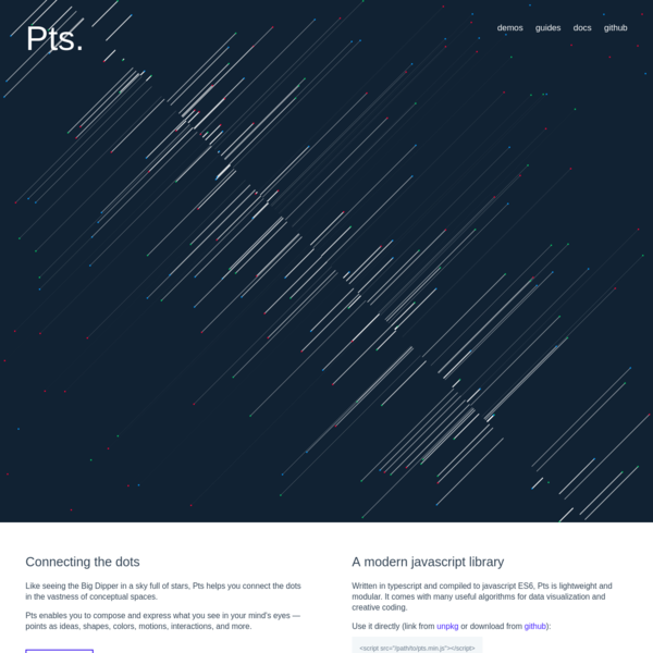 Pts is a javascript library for visualization and creative-coding.