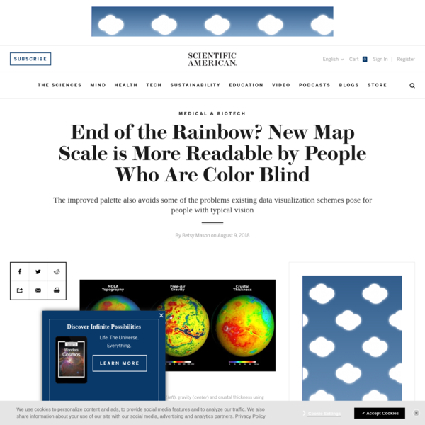 """Data visualizations using rainbow color scales are ubiquitous in many fields of science, depicting everything from ocean temperatures to brain activity to Martian topography. But cartographers have been arguing for decades the """" Roy G. Biv"""" scale makes maps and other figures difficult to interpret, sometimes to the point of being misleading."""