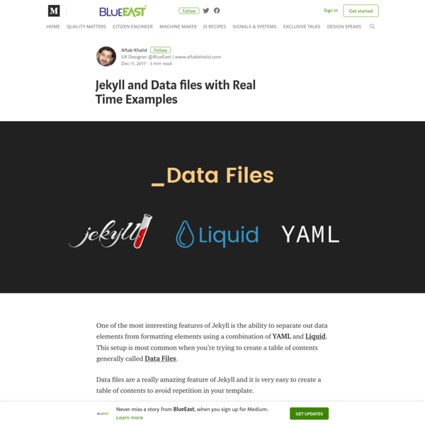 Jekyll and Data files with Real Time Examples - BlueEast - Medium