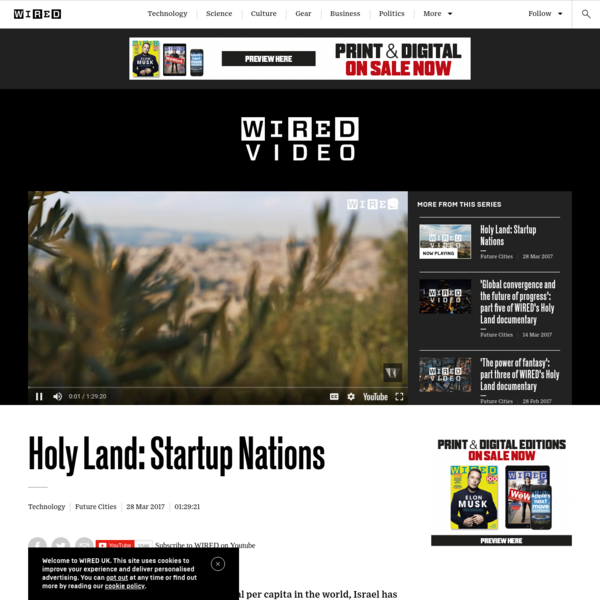 With the most tech startups and venture capital per capita in the world, Israel has long been hailed as The Startup Nation. WIRED's feature-length documentary looks beyond Tel Aviv's vibrant, liberal tech epicenter to the wider Holy Land region - the Palestinian territories, where a parallel Startup Nation story is emerging in East Jerusalem, Nazareth, Ramallah and other parts of the West Bank, as well as in the Israeli cybersecurity hub of Be'er Sheva.