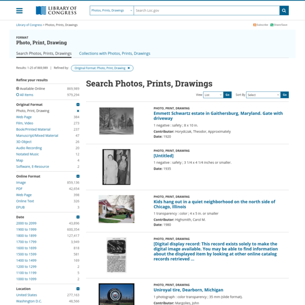 Search results from Photo, Print, Drawing