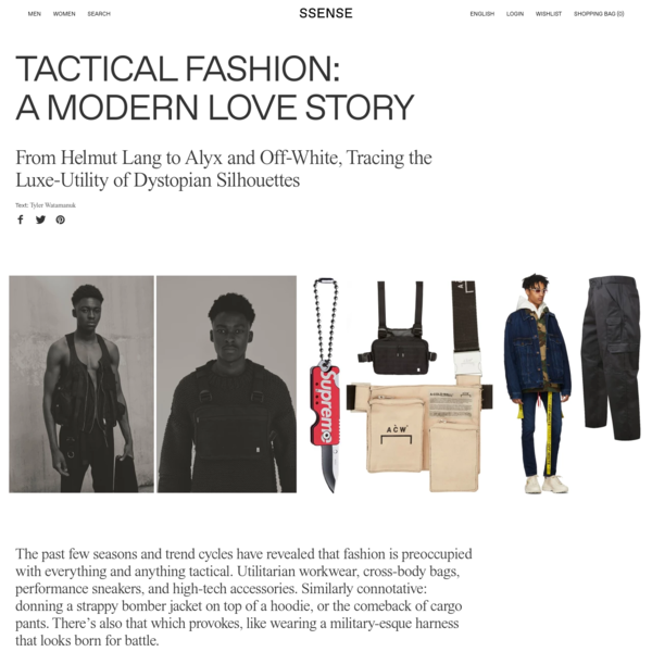The past few seasons and trend cycles have revealed that fashion is preoccupied with everything and anything tactical. Utilitarian workwear, cross-body bags, performance sneakers, and high-tech accessories. Similarly connotative: donning a strappy bomber jacket on top of a hoodie, or the comeback of cargo pants.