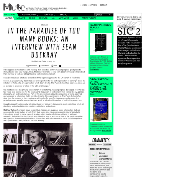 In the Paradise of Too Many Books: An Interview with Sean Dockray