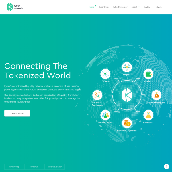 Kyber Network is connecting the fragmented tokenized world by enabling instant and seamless transactions between platforms, ecosystems and other use cases. Read more...