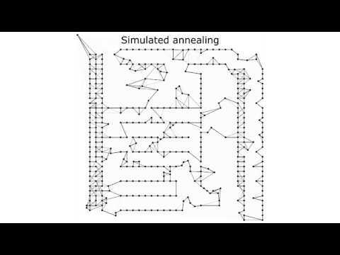 The video depicts four metaheuristic algorithms applied to the travelling salesman problem: local search, tabu search, simulated annealing and a genetic algorithm. The problem instance is PCB442 from the TSPLib. The experiments were performed using Ascension framework: http://inversed.ru/Ascension.htm Support me on Patreon: https://www.patreon.com/inversed