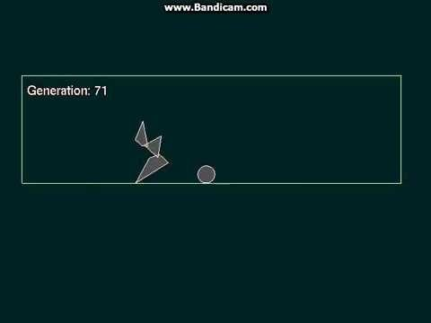 Automated design of motion strategy using genetic algorithm and neural network. Learning simple creature to jump over ball.