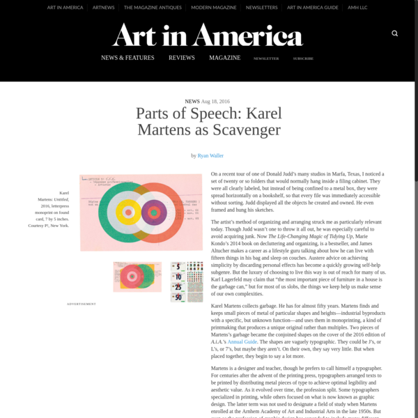 Parts of Speech: Karel Martens as Scavenger - Art in America