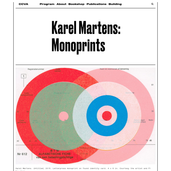 """When Karel Martens began studying art in Holland in the late 1950s, """"graphic design"""" did not even exist as its own course of study. Today, he is widely recognized as one of the most important practitioners of that very discipline, with an esteemed client list that includes major publishers, architects, and institutions."""