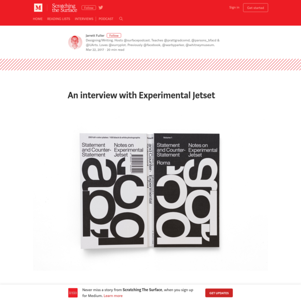 I'm not sure Experimental Jetset needs an introduction. The Amsterdam-based design trio consisting of Danny van den Dungen, Erwin Brinkers, and Marieke Stolk have been working since 1997 and are a staple in both history and studio courses. Their work ranges from printed matter to site-specific installations but always retains a recognizable thought process and aesthetic.