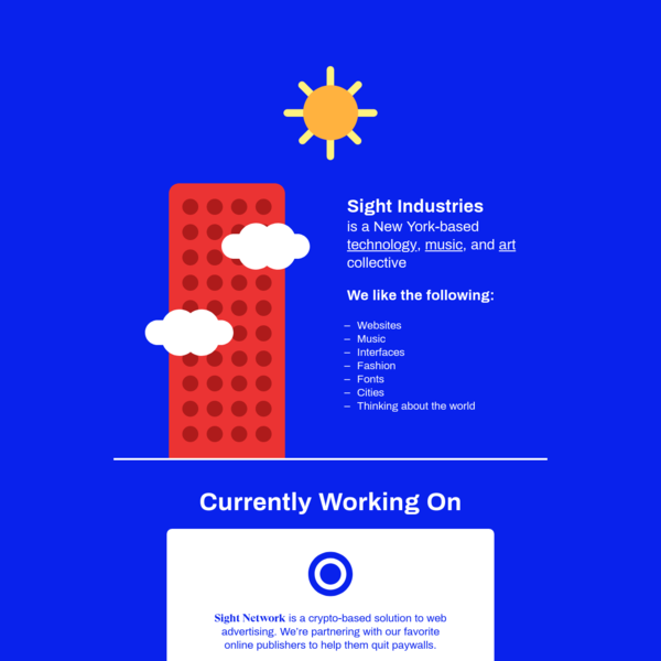 Sight Network is a crypto-based solution to web advertising. We're partnering with our favorite online publishers to help them quit paywalls.