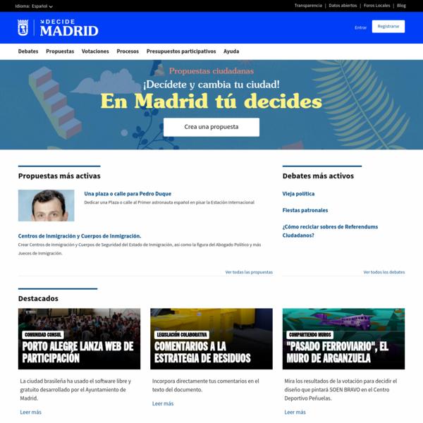 En la web de participación ciudadana Decide Madrid podrás proponer, apoyar, crear propuestas y decidir en qué gasta el Ayuntamiento su presupuesto.