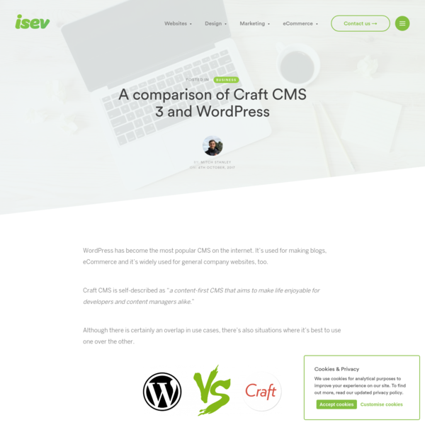 A comparison of Craft CMS 3 and WordPress | isev