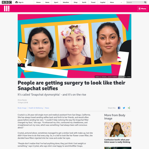 """Crystal is a 26-year-old single mum and medical assistant from San Diego, California. She has always loved sending selfies back and forth to her friends, and would often pause before sending her own. """"I couldn't help noticing the way the Snapchat filter changed my face,"""" she says."""