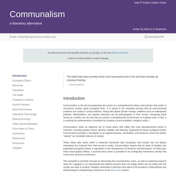 Communalism: A Liberatory Alternative