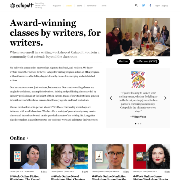 Catapult Online and In-Person Writing Classes and Workshops in NYC