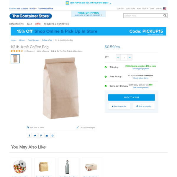 Enjoy free shipping on all purchases over $75 and free in-store pickup on the 1/2 lb. Kraft Coffee Bag at The Container Store. Our Coffee Bag boasts a 1/2 pound-capacity, making it a great packaging solution for food gifts like candy, nuts or coffee. The interior is lined in polypropylene to prevent food oils from leaking.
