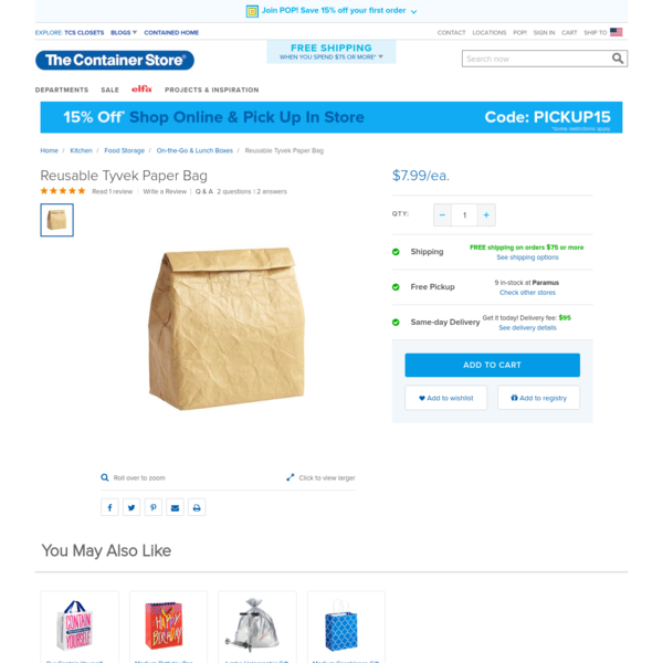 Enjoy free shipping on all purchases over $75 and free in-store pickup on the Reusable Tyvek Paper Bag at The Container Store. Pack and tote time and again with our Reusable Tyvek Paper Bag. Made from waterproof Tyvek, these bags act like fabric but have a smooth paper-like feel for a fun way to gift or get.