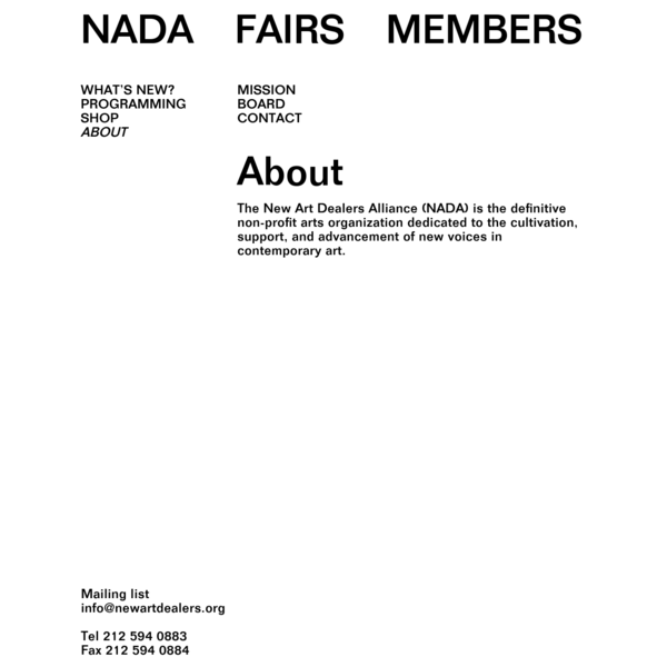 About - New Art Dealers Alliance (NADA)