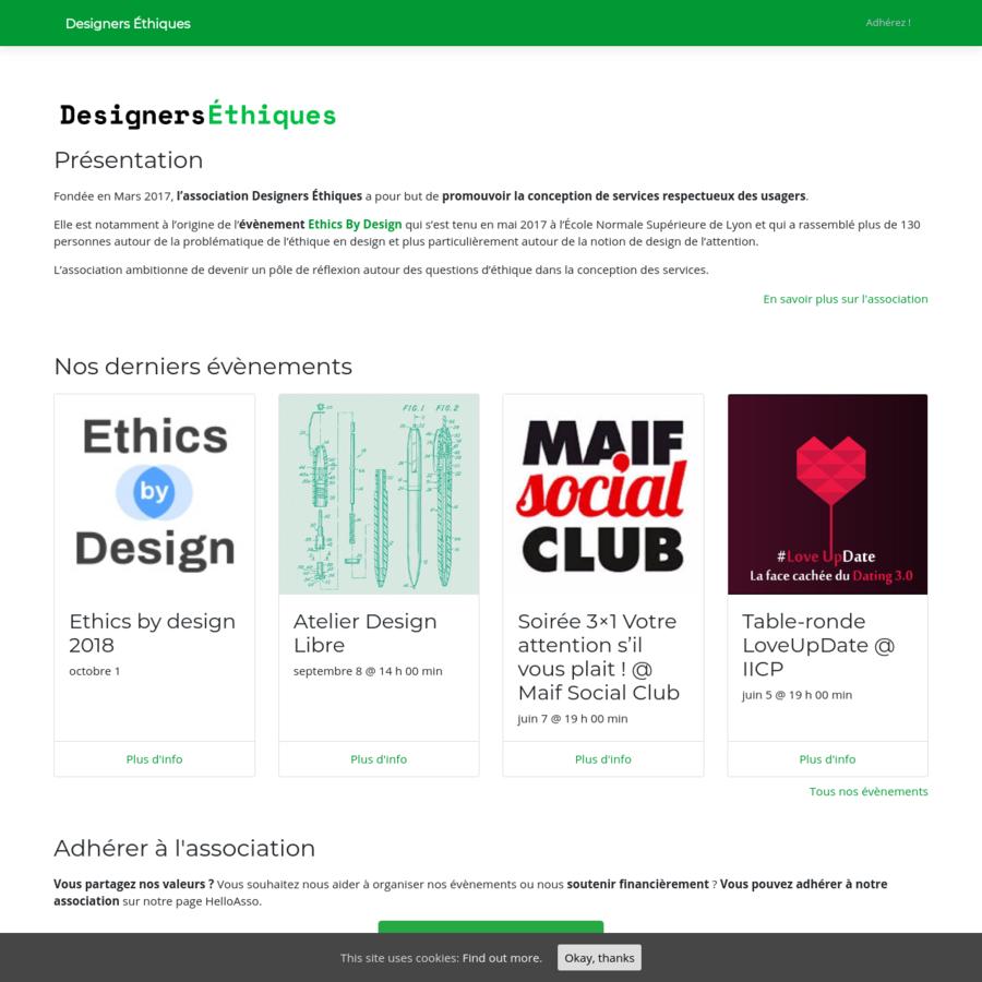 Fondée en Mars 2017, l'association Designers Éthiques a pour but de promouvoir la conception de services respectueux des usagers.