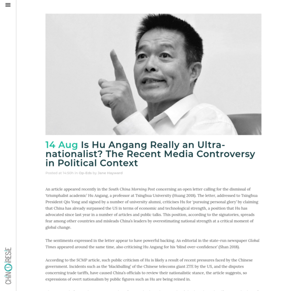 Is Hu Angang Really an Ultra-nationalist? The Recent Media Controversy in Political Context