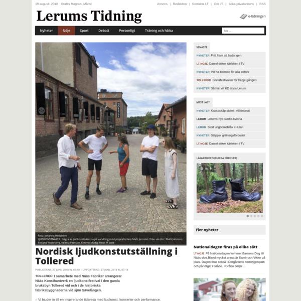 Lerums Tidning: Nordisk ljudkonstutställning i Tollered