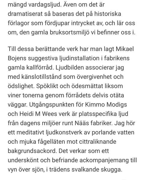 """Ljudkonst på Nääs Fabriker -group exhibition. A review fom Göteborgs-Posten: """"Sömmerskornas historia ljuder på Nääs"""""""