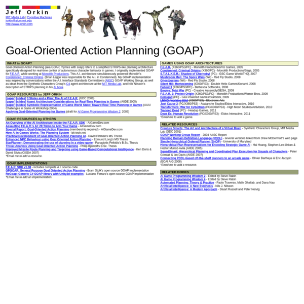 Applying Goal-Oriented Planning for Games (draft for AI Game Programming Wisdom 2 , 2003)