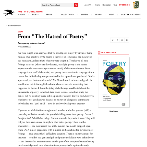 """From """"The Hatred of Poetry"""" by Ben Lerner"""