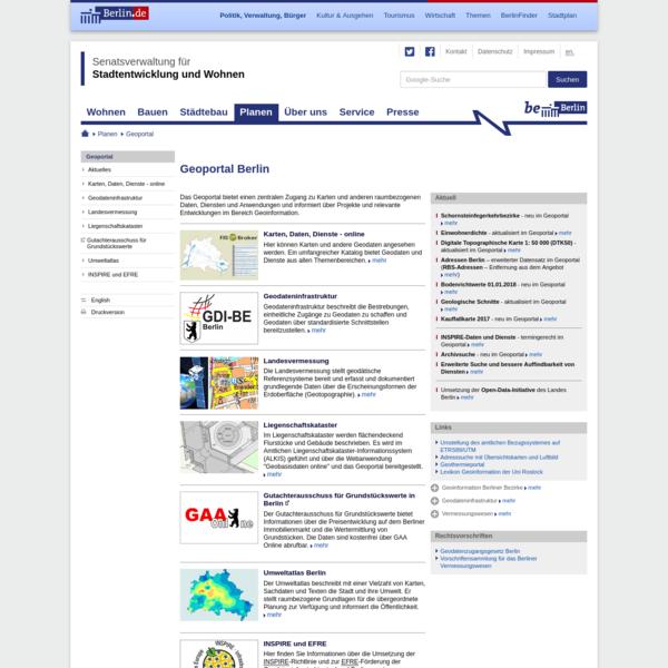Geobasisdaten und Geodätische Bezugssysteme der Landesvermessung in Berlin, Senatsverwaltung für Stadtentwicklung und Wohnen in Berlin