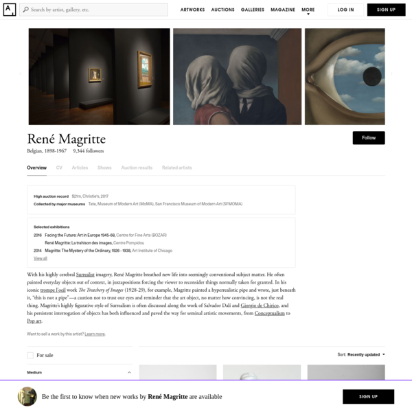 Find the latest shows, biography, and artworks for sale by René Magritte. With his highly cerebral Surrealist imagery, René Magritte breathed new life into s...