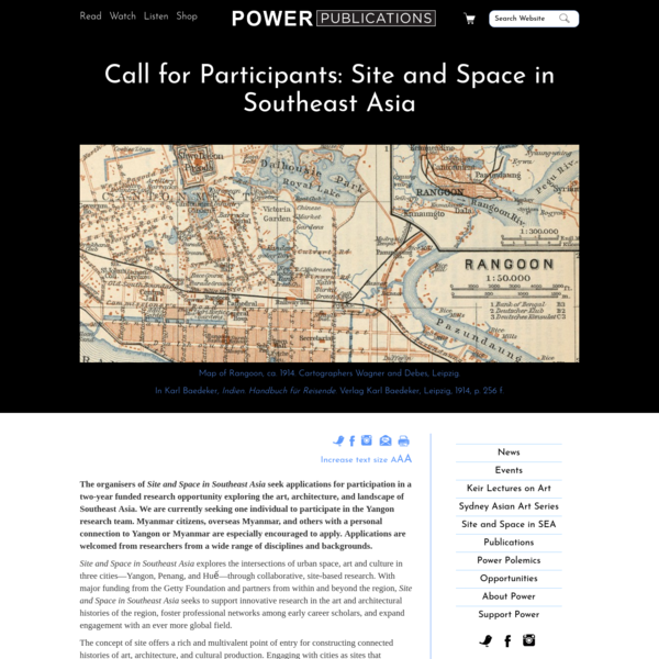 Call for Participants: Site and Space in Southeast Asia