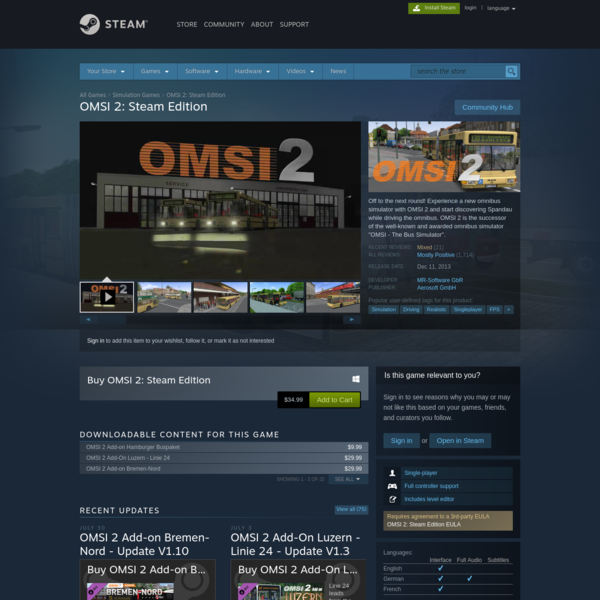 """Off to the next round! Experience a new omnibus simulator with OMSI 2 and start discovering Spandau while driving the omnibus. OMSI 2 is the successor of the well-known and awarded omnibus simulator """"OMSI - The Bus Simulator""""."""
