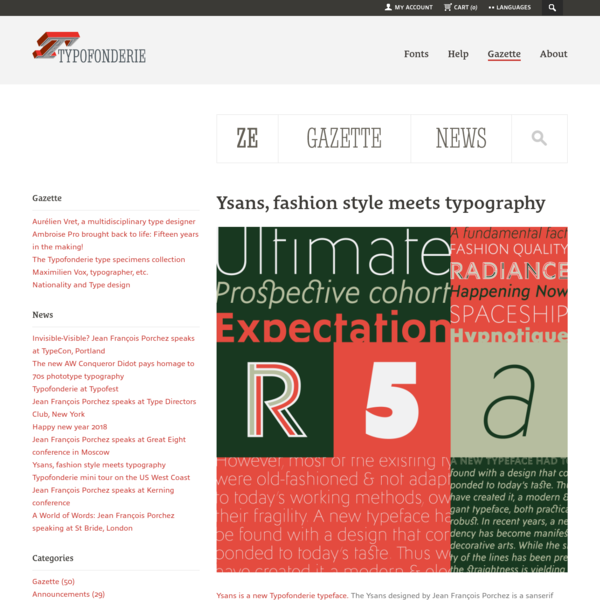 Gazette: blog and news about typography, typefaces, fonts, books and typographic design. Test, buy, download exclusive fonts at Typofonderie, independent type foundry since 1994. OpenType fonts from euros 45 (Windows, Mac OS). Achetez nos fontes et polices OpenType a partir de 45 euros