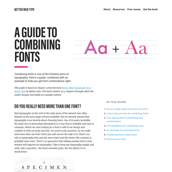 A Guide to Combining Fonts | Better Web Type