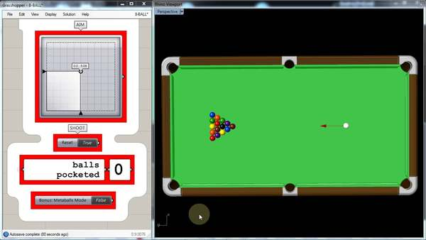 8-ball game (well.... just the break shot...) created in Grasshopper with Kangaroo plugin. Grasshopper: http://www.grasshopper3d.com Kangaroo: http://www.grasshopper3d.com/group/kangaroo Table modified from: http://www.cadblocksfree.com/downloaddetails.php?id=4289 Music: DJ Food - The Crow Files: http://www.grasshopper3d.com/group/coffee-and-grasshopper/forum/topics/games-for-grasshopper-open-challenge?commentId=2985220%3AComment%3A1137238&groupId=2985220%3AGroup%3A560791