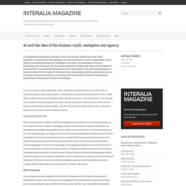 AI and the idea of the human: myth, metaphor and agency - Interalia Magazine