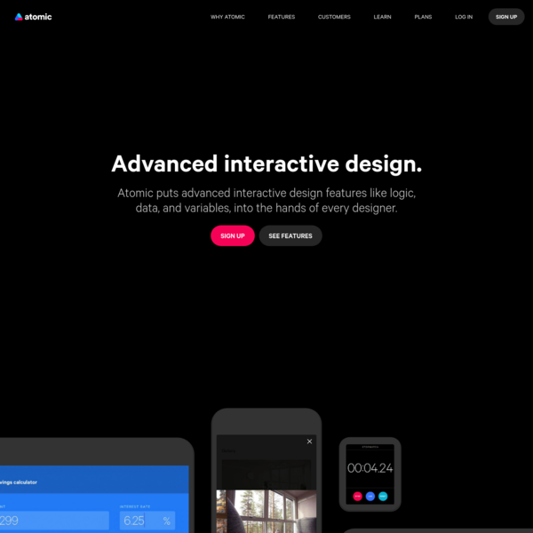 Advanced interactive design and prototyping - Atomic.io