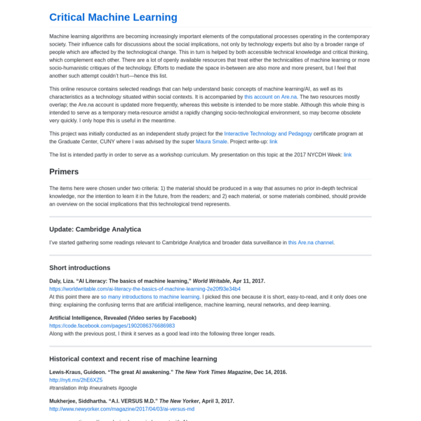 Critical Machine Learning