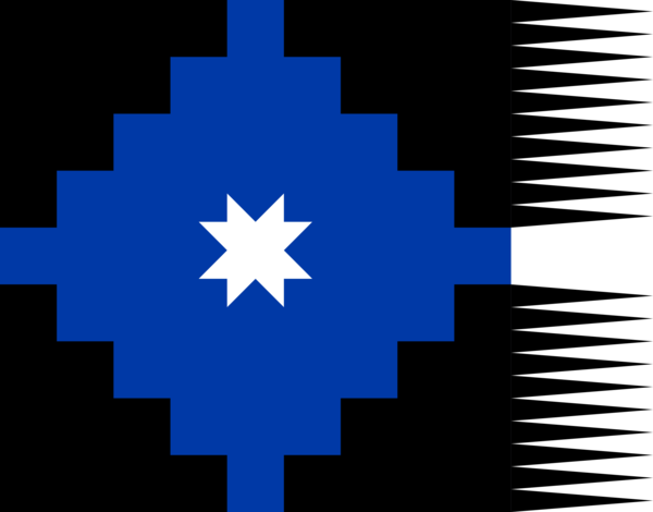 Mapuche flag, as portrayed in the work of Fray Pedro Subercaseaux  https://commons.wikimedia.org/wiki/File:Lautaro_flag.svg https://en.wikipedia.org/wiki/Flag_of_the_Mapuches https://en.wikipedia.org/wiki/Flag_of_Chile