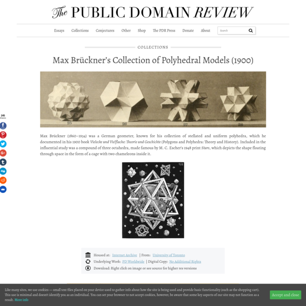 Max Brückner (1860-1934) was a German geometer, known for his collection of stellated and uniform polyhedra, which he documented in his 1900 book Vielecke und Vielflache: Theorie und Geschichte (Polygons and Polyhedra: Theory and History). Included in the influential study was a compound of three octahedra, made famous by M.