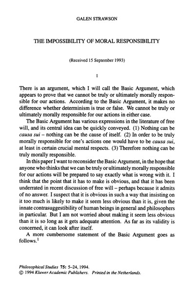 Galen Strawson, 'The Impossibility of Moral Responsibility' (1994)