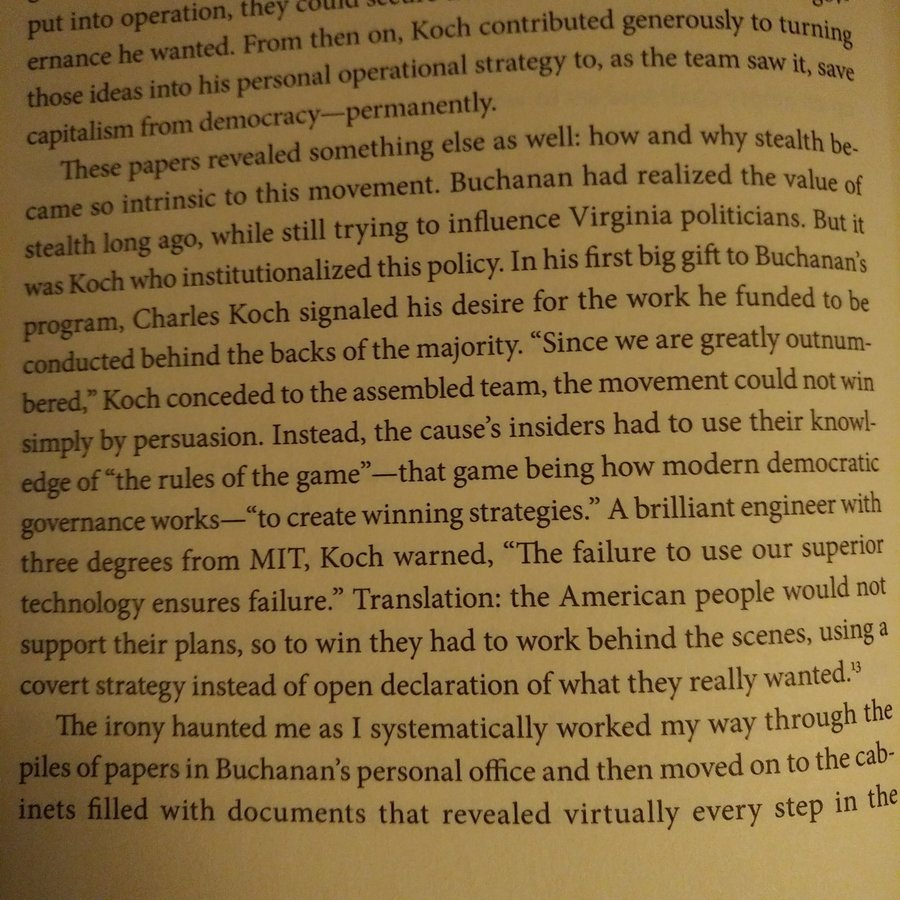 """Excerpt from Nancy Mcleans' """"Democracy in Chains"""", about the Koch Brothers."""