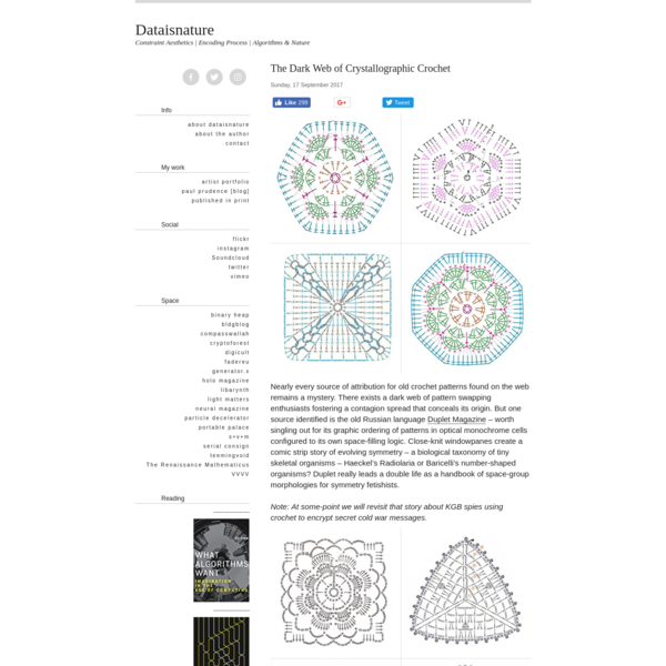 Nearly every source of attribution for old crochet patterns found on the web remains a mystery. There exists a dark web of pattern swapping enthusiasts fostering a contagion spread that conceals its origin. But one source identified is the old Russian language Duplet Magazine - worth singling out for its graphic ordering of patterns in optical monochrome cells configured to its own space-filling logic.