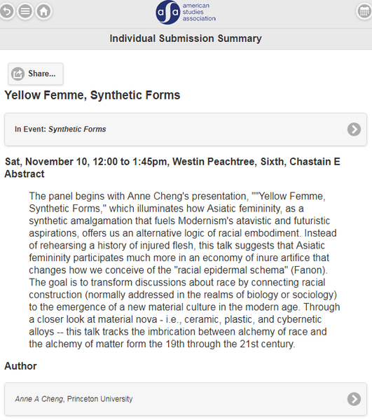 Yellow Femme, Synthetic Forms