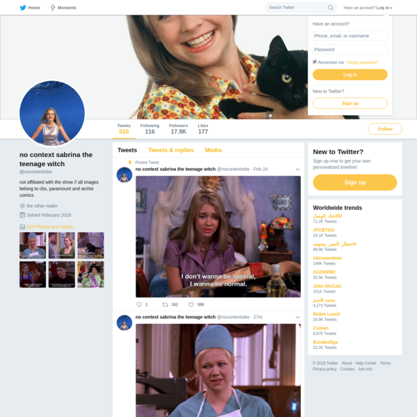 The latest Tweets from no context sabrina the teenage witch (@nocontextsttw). not affiliated with the show // all images belong to cbs, paramount and archie comics. the other realm
