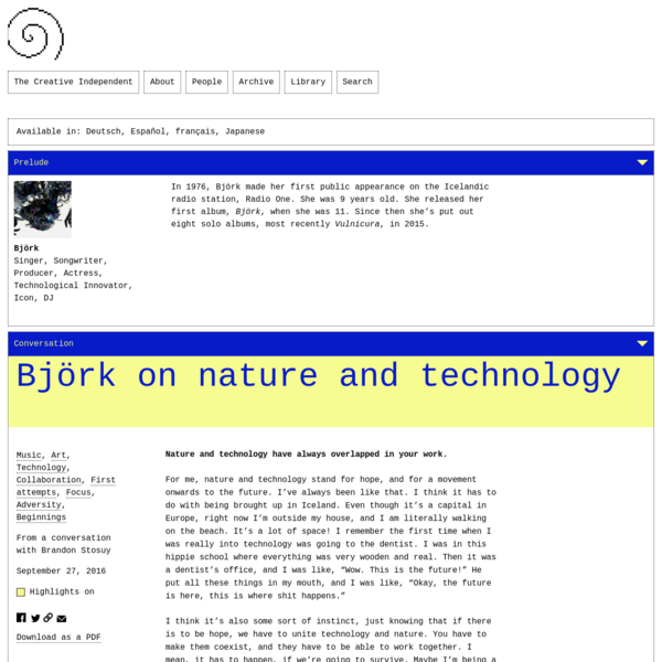 Björk on Nature and Technology
