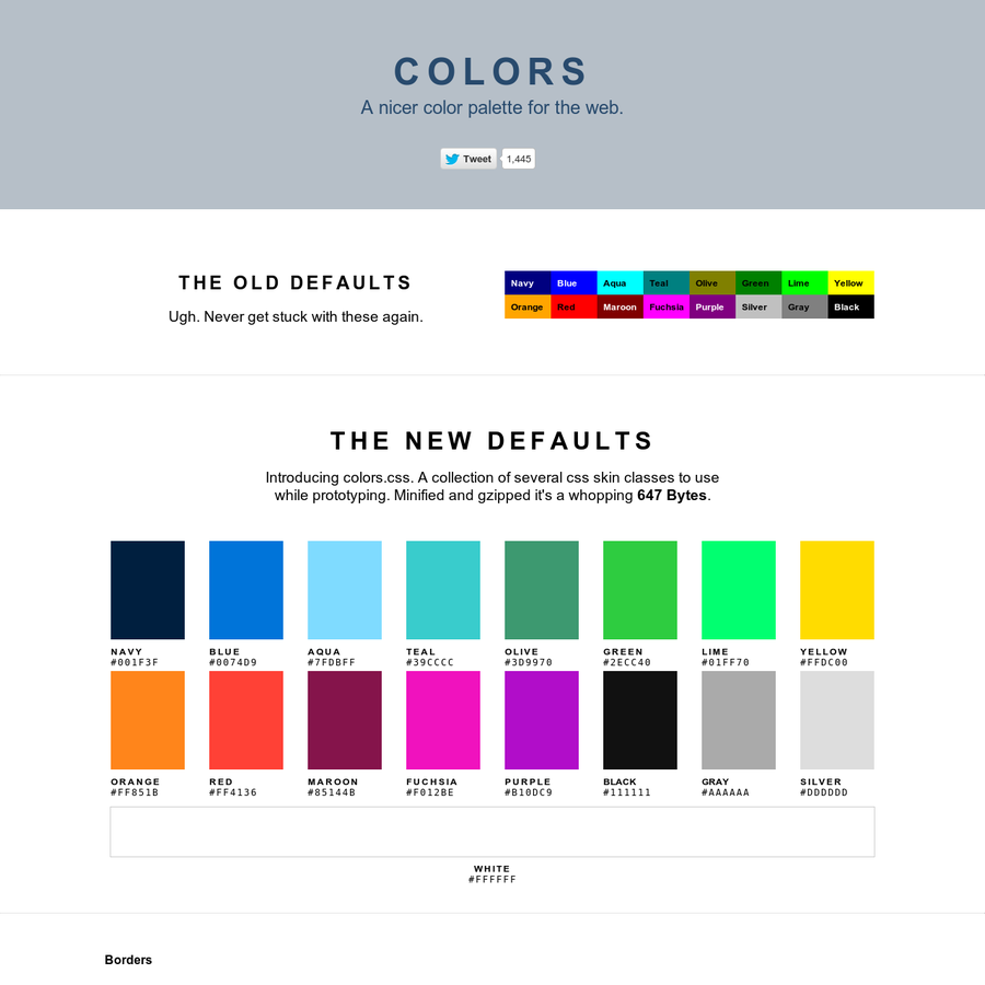 Colors.css - A nicer color palette for the web.
