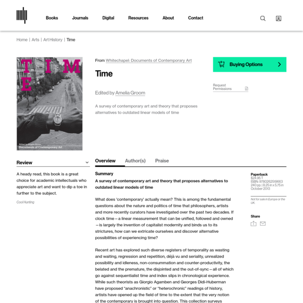 A survey of contemporary art and theory that proposes alternatives to outdated linear models of time What does 'contemporary' actually mean? This is among the fundamental questions about the nature and politics of time that philosophers, artists and more recently curators have investigated over the past two decades.