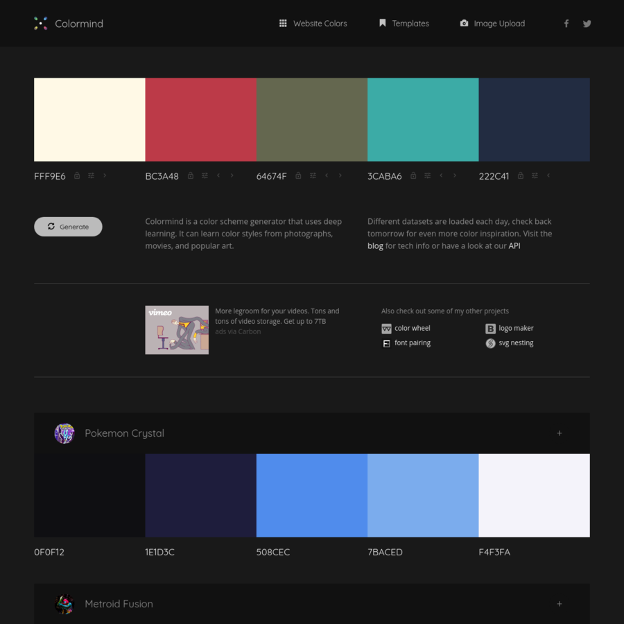Are Na Colormind The Ai Powered Color Palette Generator