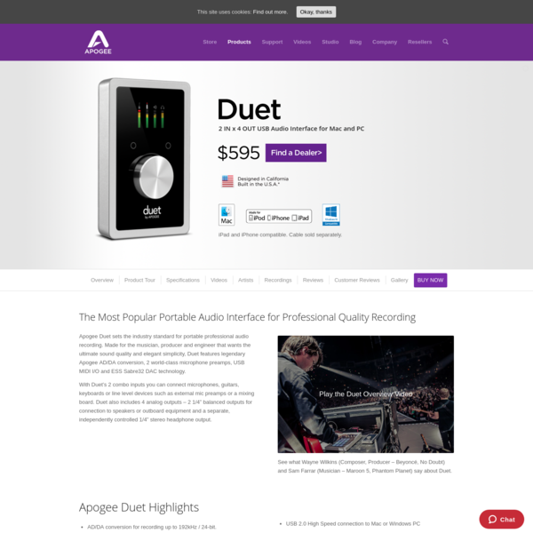 Apogee Duet - 2 IN x 4 OUT USB Audio Interface